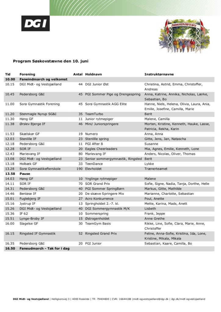 Program Søskovstævne 2018